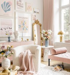 Inspiration Wand, Interior Inspiration, Gold Bedroom, Bedroom Decor, Pastel Home Decor, Bathroom Design Luxury, Dream Decor, Matisse, Decoration