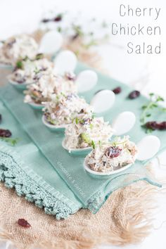 Cherry Chicken Salad ~ no mayo! Greek yogurt instead. Great Recipes, Favorite Recipes, Eating Light, Tasty, Yummy Food, Wrap Sandwiches, Appetisers, Chicken Salad, Soup And Salad