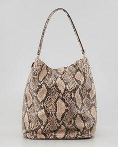 Stella McCartney Boo Faux-Python Hobo Bag, Nude - Bergdorf Goodman