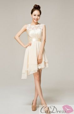 You can make either mini length or mid length and pick your color.  Scoop Knee-length Chiffon Lace Wedding Party / Bridesmaid Dress - Bridesmaid Dresses - Wedding Party Dresses - CDdress.com