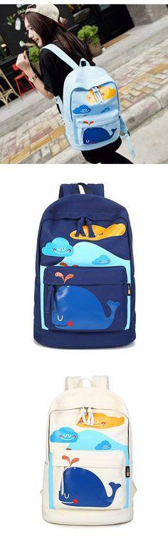 Lovely Cute Smile Dolphin Clouds Printed School Bag Canvas Travel Backpack Computer Rucksack, backpacks for girls, pink backpack, mini backpack, cool backpacks, backpacks for women, leather backpack, travel backpack, laptop backpack, school backpacks, cute backpacks, hiking backpack, bookbags, waterproof backpack,