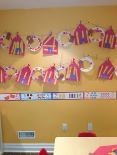preschool circus theme | Circus theme tents and lions jumping through hoops