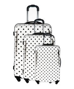 Three pc white spinner suitcases by Blue Star on secretsales.com