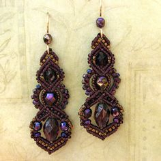 Beaded micro-macrame earrings