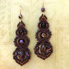 Beaded Macrame Earrings Burgundy and Gold Minerva by glassdancer, $55.00