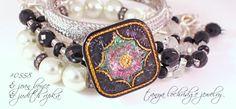 Tanya Lochridge Jewelry Vintage Glass Button Bracelet stacked with Judith Ripka bangle. www.tanyalochridge.com #judithripka #tanyalochridgejewelry