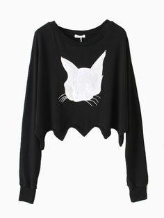 Black Crop Sweatshirt In PU Cat Pattern