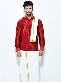 Enchanting red color raw silk shirt paired with white color cotton dhoti and angavastram. Item Code : SCU12002-2 http://www.bharatplaza.com/new-arrivals/south-indian-mens-wear.html