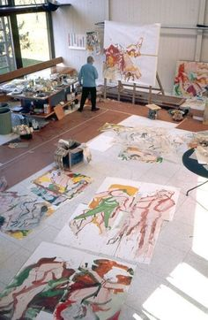 New Painting People Abstract Willem De Kooning Ideas Willem De Kooning, Atelier Photo, Atelier D Art, Action Painting, Jackson Pollock, Artist Art, Artist At Work, Studios D'art, Fine Art
