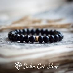 shungite rondel beads with gold plated bead EMF protection
