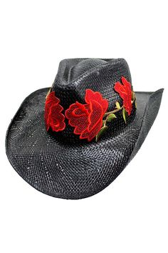 Luxury Divas Black Texas Style Glamorous Red Crystal Rhinestone Rose Cowboy Hat - divas to coupon wedding Cowgirl Hats, Western Hats, Cowgirl Style, Western Style, Rhinestone Headband, Red Rhinestone, Black Cowboy Hat, Rose Hat, Occasion Hats