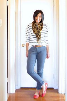 cobalt or denim color skinny jeans, eloquii stripe top (?), leopard scarf, NEED RED FLATS