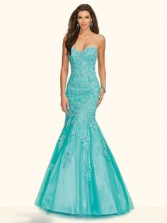Trumpet/Mermaid Sweetheart Sleeveless Tulle Floor-Length Applique Dresses http://www.sheadline.com  http://www.sheadline.com/index.php/prom-dresses.html