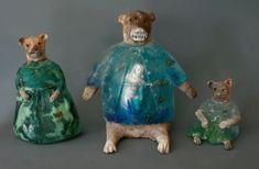 The Three Bears raku fired clay, cast glass and oil paints 13 x 8 x4, 16 x 14 x 8, 6 x 6 x 5.5 inches Christina Bothwell