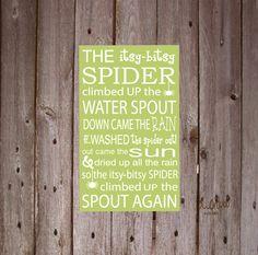 "Decor: The Itsy Bitsy Spider nursery rhyme Vinyl Wall Art. 20"" tall x 12"" wide. $25.00, via Etsy."