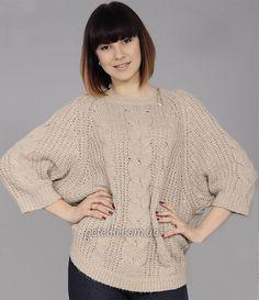 Свободный пуловер реглан. Описание, схемы вязания