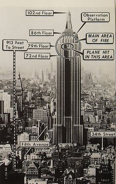 1940s NEW YORK CITY vintage photo and diagram of where airplane hit Empire State Building 28 July 1945