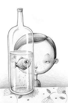 Text by Dániel Nesquens & Pepe Serrano Edelvives 2013 · Spanish Edition Children's Book Illustration, Character Illustration, Sous Bock, Foto Poster, Art Graphique, Weird Art, Fish Art, Art Plastique, Doodle Art