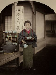 Geisha (or rather tea-house servant) serving tea, 1885