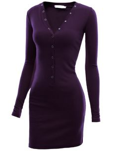 Doublju Mini Dress with Henley Neck in Stretch Cotton PURPLE (US-L) Doublju,http://www.amazon.com/dp/B00B93UF66/ref=cm_sw_r_pi_dp_1W1jtb00CC9WNT3X