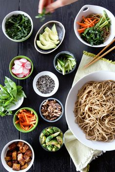 Soba Noodle Bowl Bar - Serving a large group of people couldn't be easier by doing it this way!