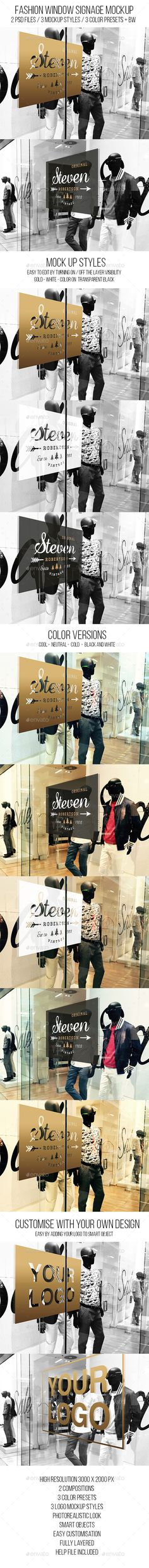 Fashion Window Signage Mockup #design Download: http://graphicriver.net/item/fashion-window-signage-mockup/12122510?ref=ksioks