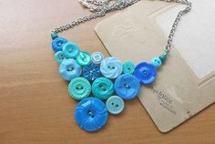 shades of blue button collar necklace. vintage button pendant necklace