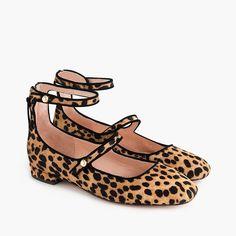 Poppy two-strap ballet flats in leopard calf hair 7b8594f82ea9