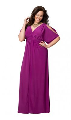 An amazing maxi dresses like Kiyonna's Coastal Cold Shoulder would Be perfect for any occasion Plus Size Fashion Dresses, Plus Size Gowns, Plus Size Maxi Dresses, Simple Dresses, Plus Size Outfits, Formal Dresses, Lounge Dresses, Evening Gowns With Sleeves, Maxi Dress With Sleeves