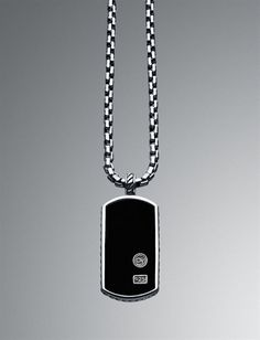 Black onyx/sterling silver DY tag necklace by David Yurman. Men, gifts