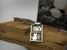 ~RuthMakesJewellery sterling silver Cat in the Window pendant