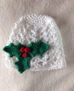 Baby christmas hat crochet white baby boy or by CrochetByTheHart, $15.00