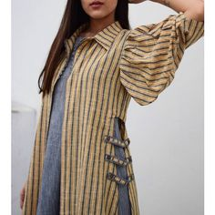 Kurti sleeves design - Grey Ruffled Inner With Mustard Grey Stripe Overlay Kurta Designs Women, Kurti Neck Designs, Blouse Designs, Abaya Fashion, Indian Fashion, Fashion Dresses, Kurti Sleeves Design, Modele Hijab, Indian Designer Wear