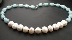 Pearls Baroque, Light blue agate, river pearls, hematite, Necklace  by TillJD on Etsy