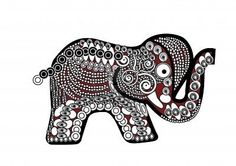 Illustration of red patterned elephant in the ethnic style on a white background vector art, clipart and stock vectors. Elephant Art, Red Pattern, Ethnic Fashion, Vector Art, Henna, Clip Art, Brooch, Elephants, Stock Photos