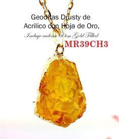 86a312865c1d MR39CH3 Dusty Geodita Cuarzo Citrino carnelina Acrlico Pendular Hoja de Oro  Cadena Gold