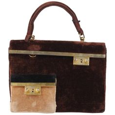 58070baf5 Roberta Di Camerino Vintage Brown Beige Velvet Handbag with Coin Purse