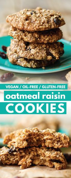 Sweet raisins. Spiced cookie. Crispy edges. oil-free vegan Oatmeal Raisin Cookie