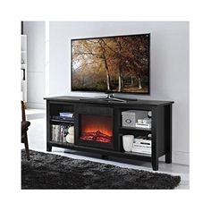 Electric Fireplace TV Stand Entertainment Center Media Console Heater Wood Flame #ElectricFireplace