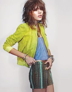 love these colors together    3/4 sleeve bomber, tank + patterned high-waist shorts