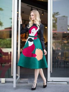 Contrast Color A-line Dress With Mermaid Embroidered Pattern - Fashion Clothing, Latest Street Fashion At Abaday.com