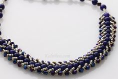 Omorfia Blue Necklace beaded statement by KalitheoCreations