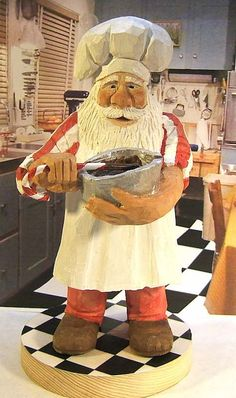 Reserved for biondoone. This is a hand carved wood Santa Claus Chef stirring a bowl of something chocolatey. Carved from basswood, painted with non-toxic acrylic paints. This carving is 9 inches tall, carved from basswood and painted with acrylic paints.