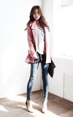 I wonder if this would look as good without heels. I like where the jacket falls. It makes a very nice silhouette.
