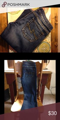 Womens Silver Jeans Worn once Women's Silver Jeans, dark blue distressed, copper buttoning, 30/30 size Silver Jeans Jeans Flare & Wide Leg