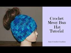Crochet Messy Bun Hat Tutorial - YouTube
