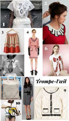Some awesome trompe-l'œil pieces to inspire your own projects: Vika Gazinskaya's Spring 2012 Scribble Jewels. Flower Boy Ramyun Shop promo pics (not sure who the designer is–anybody know?). Vintage leather patchwork skirt (sold), fromLethilogicaakaI'm Revolting. From theMoschino Cheap & Chic Pre-Fall 2012 collection. Hermes tie dress, photo by Gordon Parks. Mark Stevens-Ellis button bow shirt, …