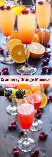 Cranberry Orange Mimosas Add a little cranberry simple syrup to these traditional mimosas for a festive holiday drink, perfect for brunch! Christmas Drinks, Holiday Drinks, Party Drinks, Cocktail Drinks, Fun Drinks, Cocktail Recipes, Holiday Recipes, Alcoholic Drinks, Beverages