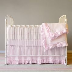 Vintage styling is so in! Love this beautiful vintage styled iron crib for little girls nursery!