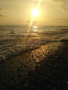 Black Sea, golden sunset, Sochi Adler